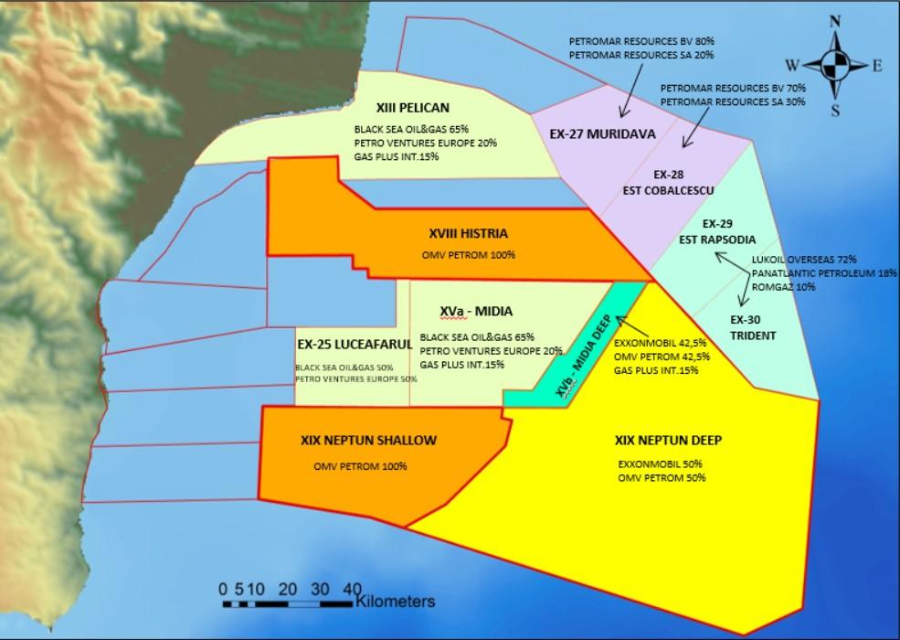 Harta concesiuni perimetre offshore - sursa: RBSTA
