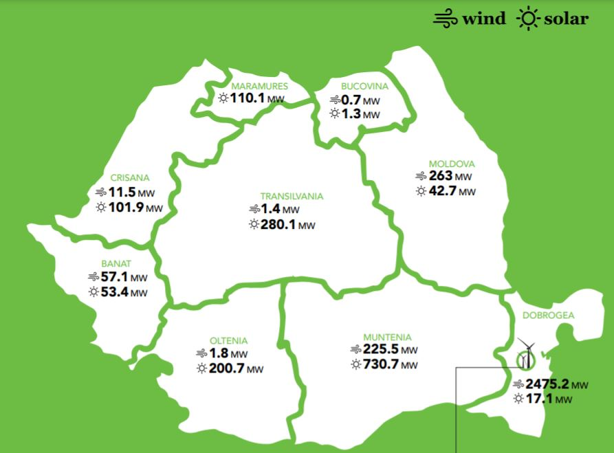 Harta capacitati energie regenerabila - sursa: RWEA